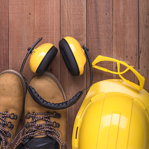 Image of safety boots and hat and ear protection